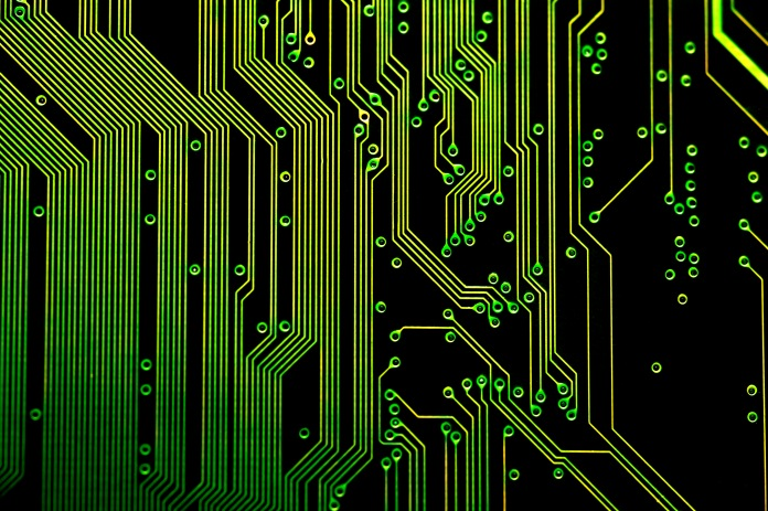 A circuit board of a computer.